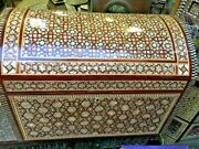 Antique Egyptian Jewelry Box Inlaid Mother Of Pearl Andtortoise Back 22x14.4