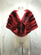 Free Shipping Luxurious Glamour Lavish Real Rosary Red Chinchilla Fur Lady Cape