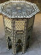 Vintage Handmade End Table Inlaid Mother Of Pearl Camel Bone Tortoise Back