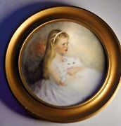 Framed Vintage Collector Plate Limited Ed 1977 Young Girl And Cat Darcy 7 3/4