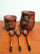 Antique Vintage Nesting Painted Wooden Bowls And Spoons Made In Ussr Russia