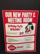 Vintage Advertising Sign Dairy Queen Ice Cream Birthday Party Special C. 1972
