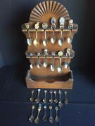 Vintage Lot Of Souvenir Spoons With Wooden Display Rack
