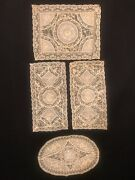 Rare Lot Of 4 Antique Hand Embroidery Batiste Andtambour On Net Lace Doilies