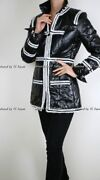 09a 2009 Very Rare Black White Zip Up Front Fall Winter Jacket Coat Fr38