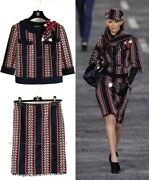 04a 04f Tricolor Tweed Zip Jacket Skirt Suit With Camellia Brooch Fr36