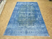 9and0395 X 15and0396 Hand Knotted Overdyed Sky Blue Persian Kirman Oriental Rug G5403