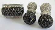 18k White Gold Black And White Diamond Set Ring Size 6 1/2 And Earrings / Appraisal