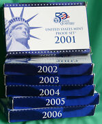 2001 To 2006 - S Us Proof Sets With 62 Coins Box And Coa 6 Complete Coin Sets