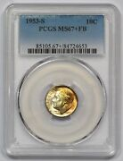 1953-s Pcgs Ms-67+fb Roosevelt Dime Golden Color Booming Luster Solid Pq Gem