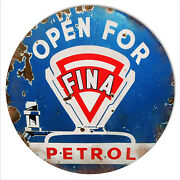 Reproduction Open Fina Petrol Motor Oil Sign 14 Round