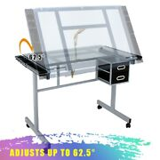 Adjustable Drawing Desk Drafting Table Tempered Glass Desk Craft Statio And Wheels