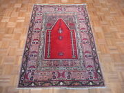 4 X 6 Hand Knotted Red Antique Oriental Persian Prayer Rug G1836