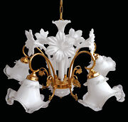 Awesome Vintage Italian Murano Mazzega Flower And Leaf Art-glass Gold Chandelier