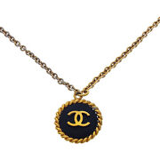 Necklace Pendant Coco Gold Black Woman Authentic Used Y2573