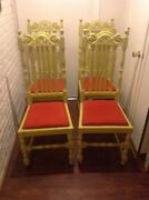 Antique Hand Carved Walnut Set Of 4 Chairs   Dining Room Furniture