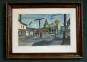 Harry A Davis Painting The Station At New Hope Bucks County Pa. Indiana Artist