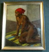 Virginia Goldberg Painting Ny / Ohio Listed 1914-2011 Afro American Nude Oil
