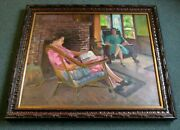 Joseph Newman Oil Painting Interior Scene By This Well Listed New York Artist