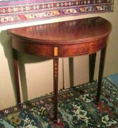 Antique Federal Mahogany Card Table W/bellflower Inlay And Fluted Edge Old Surface