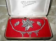 Sherman Jewels Of Elegance-signed Necklace, Brooch And Earrings In Clear Ice Color