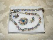 Sherman Jewels Of Elegance- Signed Ab Bracelet, Necklace, Brooch And Earrings