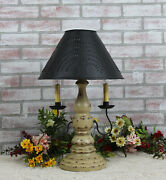 Katieand039s Liberty Table Lamp With Punched Tin Shade 2 Arm - Rustic Country Colors