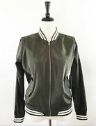Bomber Jacket Womens Sz Xl Olive Green White Accents Silver Zip Ci Sono New