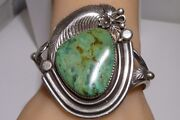 June Perry Cuff Bracelet Rare Ajax Turquoise Sterling Silver Navajo Vintage