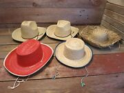 Vintage Lot Mexico Mens And Kids Size Fedora 4-beige And 1-red Straw Hats