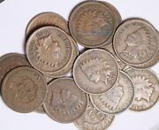 Lot Of 50 Coins Mixed Indian Head Cent Pennies Good/vg 1900and039s Free S/h
