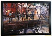 Original Oil Painting Arthur Robins New York Cityscape Park Playground Gangsters