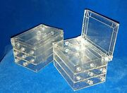 Usa Vtg 1950s Lot/20 Boxes Clear Plastic/metallic Glitter 3-tier Sewing/jewelry