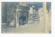 Porch And Fire Place Rppc Peru Vt Bromley Inn—rocking Chairs Antique Photo
