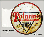 Retro Distressed Polarine Motor Oil Double Sided Flange Sign