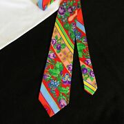 Gianni Versace Red Silk Tie W/ Bright Colors Floral Cross Stitch From Ss 1994