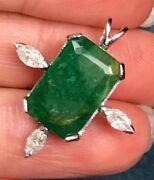 14k White Gold 14 Ct Emerald And 0.4 Tcw Diamond Pendant. Large 1 And 4g--k1l4l9