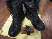 Smith And Wesson Lot Mens Boots Size 10 And Anolog Watch W Black Strap