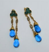 Fine Quality 18 Kt Gold Earrings With Court Necklace Peking Glass Drops