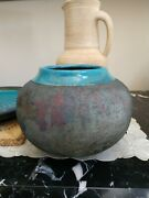 Whitehead Street Pottery Bowl Or Vase By Charles Pearson Teal Purple