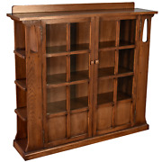 Crafters And Weavers Mission Double Door Bookcase With Side Shelves - Walnut W1