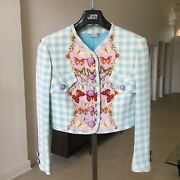 Gianni Versace Couture Silk Butterfly Print Cropped Blazer Size It 40 From 1995