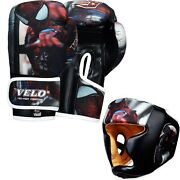 Velo Focus Pads Junior Boxing Gloves Kids Head Guards Hook Jab Mitts Mma Spiderm