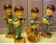 Collector Set The Beatles Vintage Cake Toppers Bobblehead Nodders + Brass Drums
