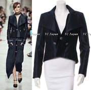 14c 14p Navy Blue Fitted Satin Silver-tone Hardware Jacket Fr36 Fr38 New