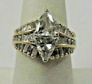 14k Solid Gold 2 Ct. Diamond Engagement Or Cocktail Ring Size 7.5 R377