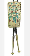 Gorgeous Turquoise, Coral, And Silver Chip Inlay Navajo Kachina Bolo Tie 1980's