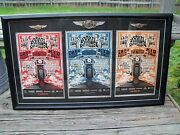 New Harley Davidson 110th Framed Poster Set With 3 110th Vest Pinand039s Mint
