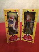 Vintage Porcelain Clown Dolls 2 Ea - New In Box By Parade Of Clowns 12