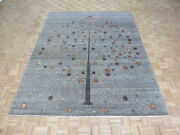 8and0392 X 10and0393 Hand Knotted Gray Tree Of Life Gabbeh Oriental Rug With Silk G5846